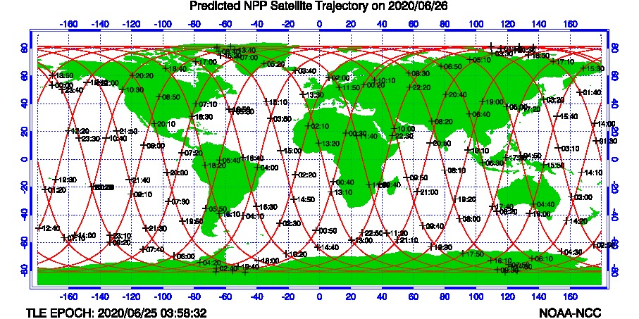 Predicted SNO Satellite Trajectories - Today