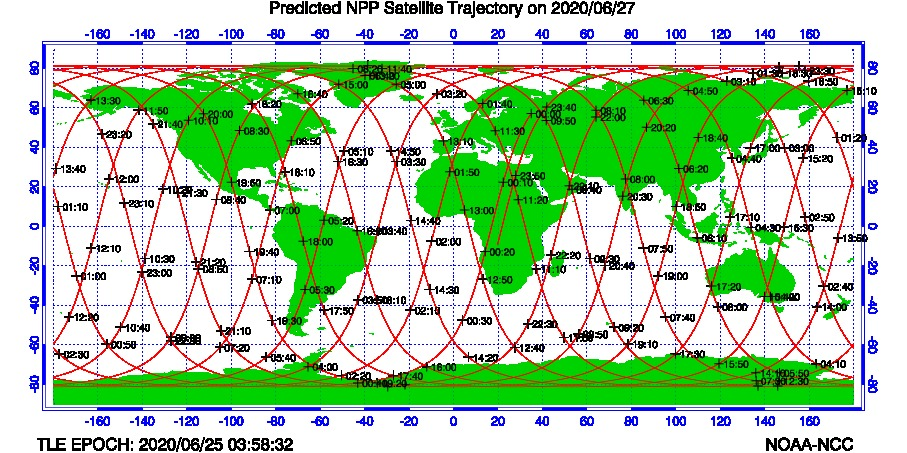 Predicted SNO Satellite Trajectories - Tomorrow