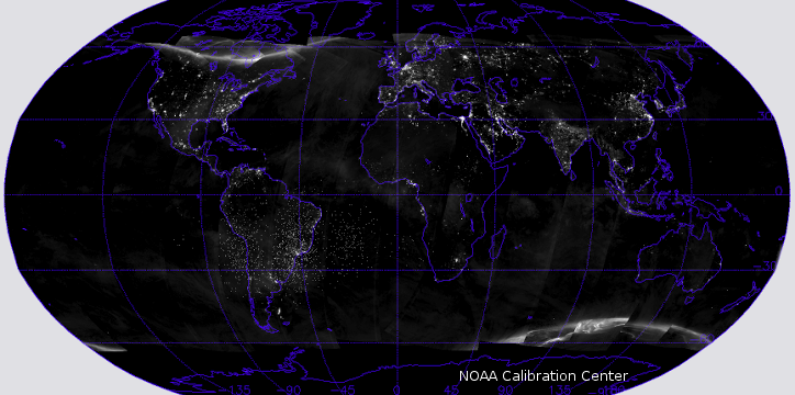 Suomi NPP VIIRS DNB Global Night Light (New Moon)